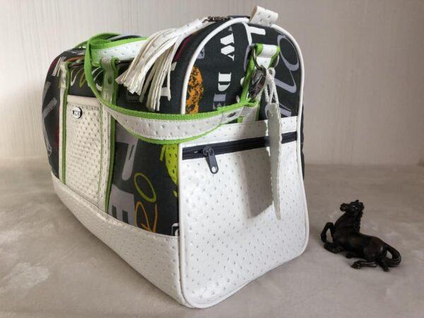 sac de voyage boston vert et blanc