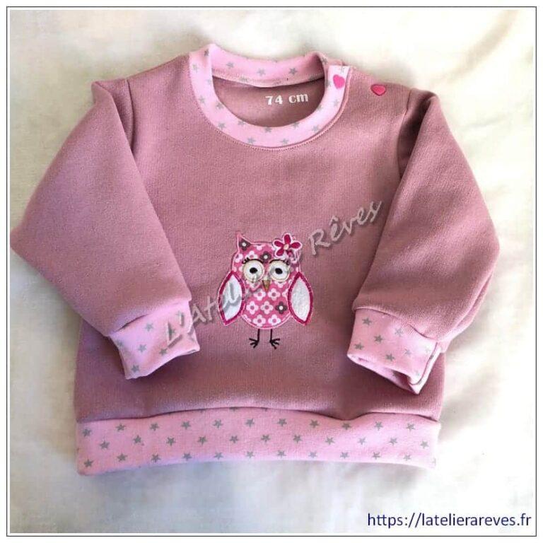 Sweat shirt rose brodé hibou pour bébé